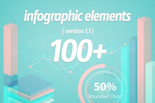 100+ Flat Infographic Elements PSD