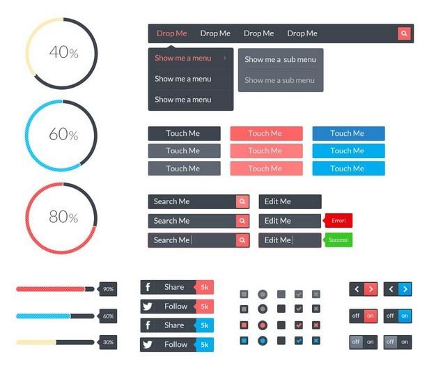 Featherweight -  Retina Ready Vector Flat Web UI Kit