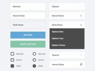 Simple Flat Web UI Elements PSD