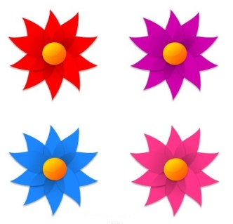 Vector 4 Colorful Windmill Style Flowers