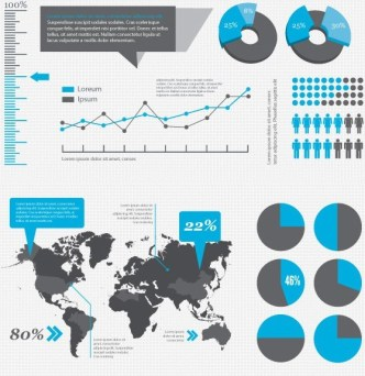 Blue and Dark Infographic Elements Vector