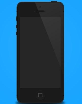 Flat Style Black iPhone 5 Mockup Template PSD
