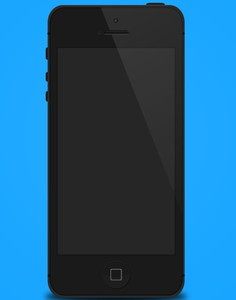 Flat Style Black iPhone 5 Mockup Template PSD