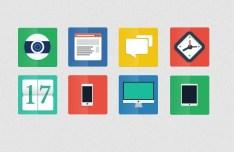 8 Minimal Flat Icons PSD