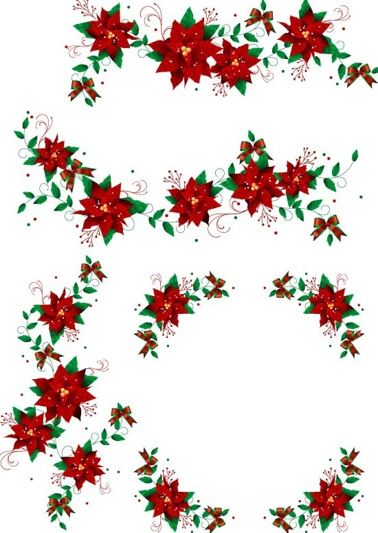 Christmas Wreaths with Ribbons and Bows Vector 02