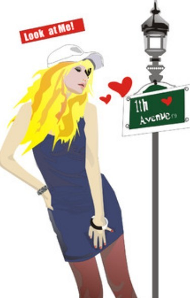Fashion City Girl Vector Illustration