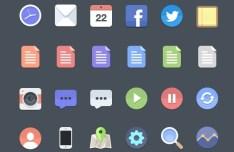 Minimal Flat Web Icons PSD