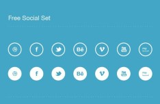 Flat Rounded Social Icon Set PSD