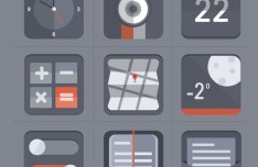 Flat Grey Web Icon Set PSD
