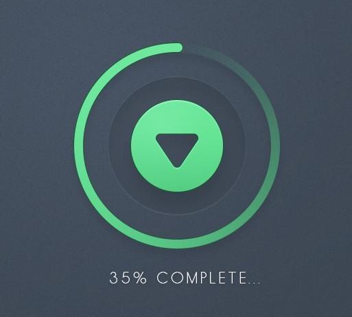 Green Download Button with Progress Bar PSD
