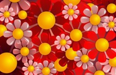 Brightly Colored Flowers Background Vector 01