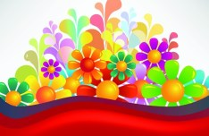Brightly Colored Flowers Background Vector 02