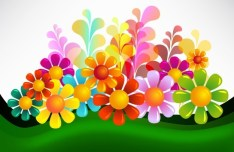 Brightly Colored Flowers Background Vector 05