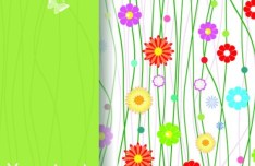 Colorful Spring Flowers and Butterflies Background Vector