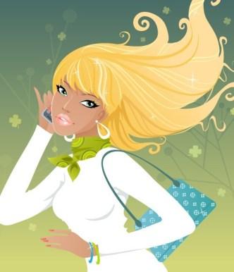 Shopping Girls Vector Illustration 02