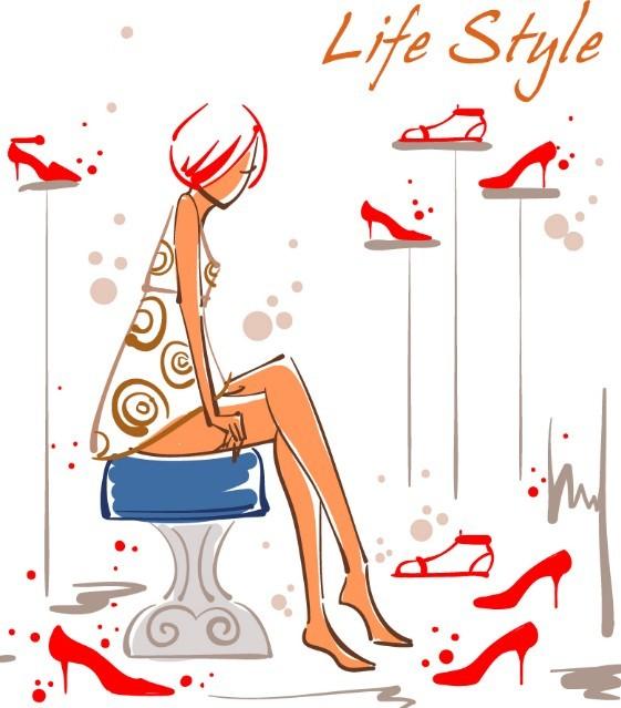 Vector Fashion City Girl Illustration 01