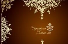 Vector Golden Floral Decorative Pattern 04