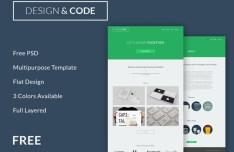Flat and Responsive Code & Design Website Template PSD