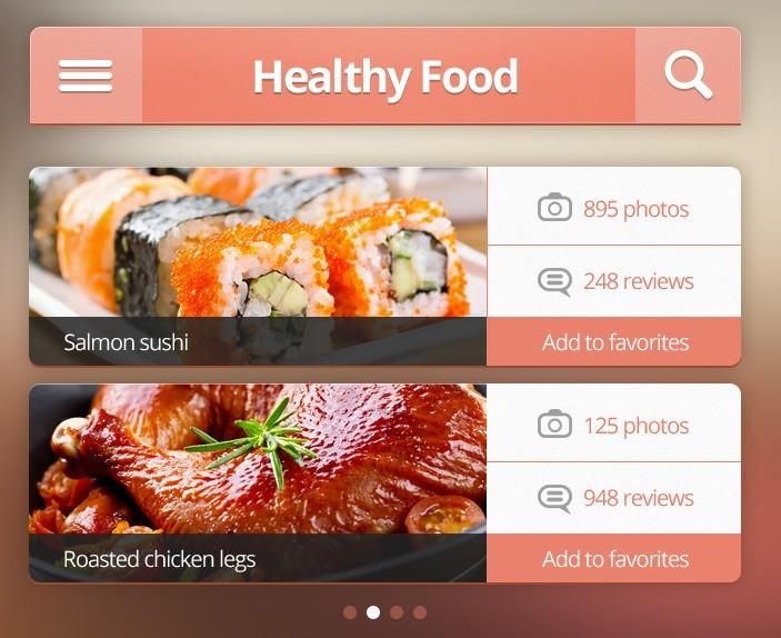 Free pink restaurant iphone app ui kit psd titanui