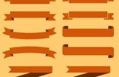 Set Of Brown Ribbons PSD Vector