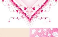 Set Of Lovely Heart Backgrounds Vector
