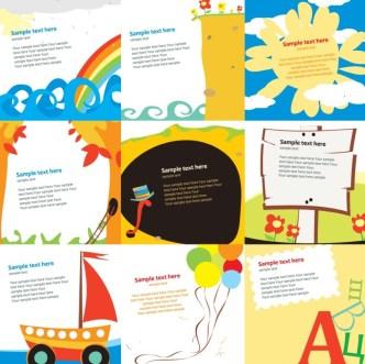 Set of Vector Cartoon Kids Illustration Backgrounds