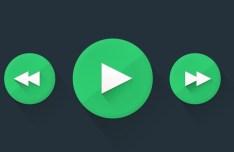 Flat Green Control Buttons PSD