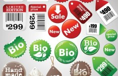 Set Of Vector Vintage Sale & Product Stickers