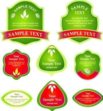 Set Of Vector Gree Leaf-Like Labels with Ribbons