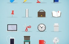 Flat Stationary Icons Pack