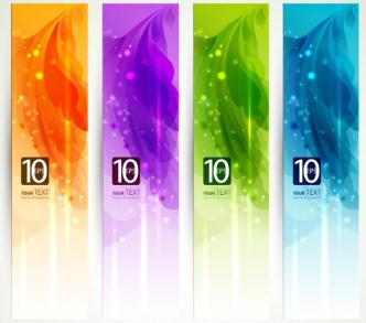 Set Of Clean Banner Template with Colorful Leaf Background Vector 01