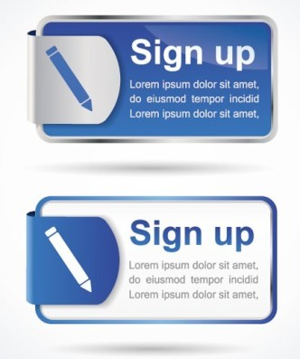 Stylish Vector Sign up Buttons & Labels 02