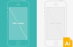 Vector iPhone 5 Wireframe Mockup