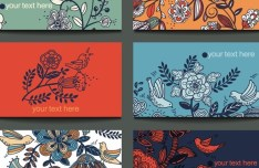 Vintage Flower and Bird Banners Vector 02