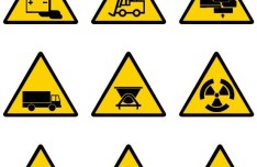 Yellow and Black Warning Signs Vector 03
