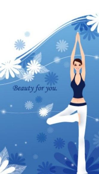 Yoga Girls with Fresh Floral Background Illustration Vector 02