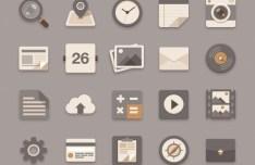 Brownie Theme Flat Icon Set PSD