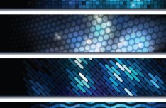 Set Of Bright Blue Abstract HI-Tech Banners Vector