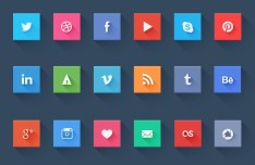 Simple Flat Design Social Media Icons Set PSD