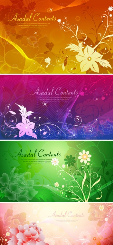 Set Of Vector Bright Flower Background