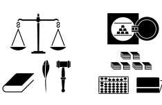 Black Adjudgement and Finance Icons Vector