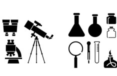 Black Chemical and Physical Icons Vector