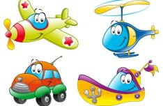 Cute Cartoon Transportation Icons Vector 01