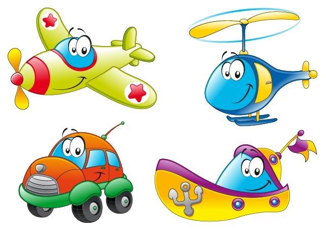 Cute Cartoon Transportation Icons Vector 01