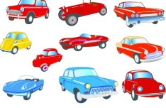 Cute Cartoon Transportation Icons Vector 02