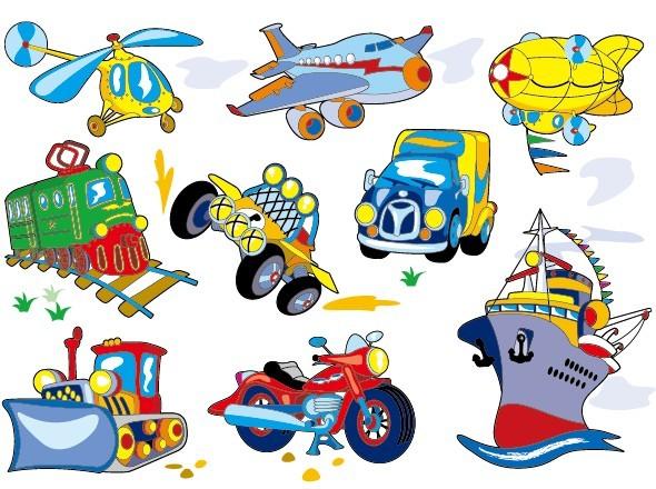 Cute Cartoon Transportation Icons Vector 03