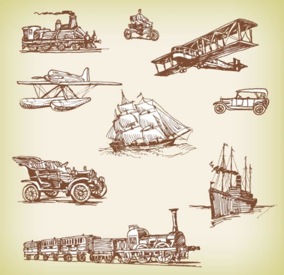 Set Of Vector Vintage Old Transport 01
