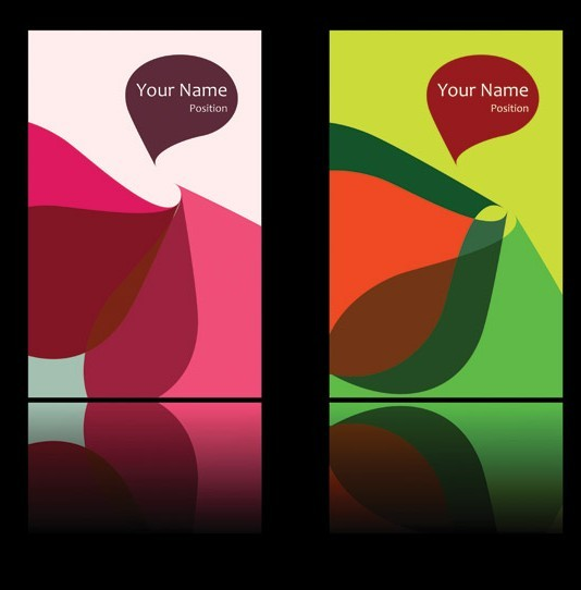 Abstract Color Block Cards Vector 02