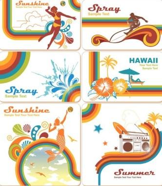 Vintage Summer Holiday Card Templates Vector