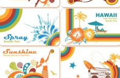 Vintage Summer Holiday Card Templates Vector